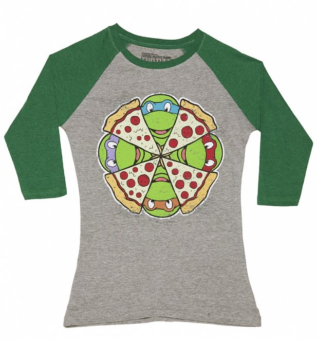 Women's Grey Marl And Green Teenage Mutant Ninja Turtles Pizza Baseball T-Shirt
