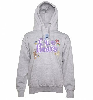 Women's Grey Marl Care Bears Logo with Badges Hoodie