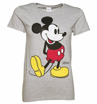 Women's Grey Marl Disney Classic Mickey Mouse T-Shirt
