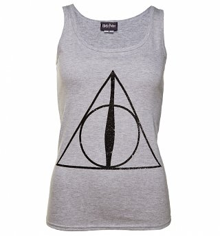 Women's Grey Marl Harry Potter Deathly Hallows Symbol Vest