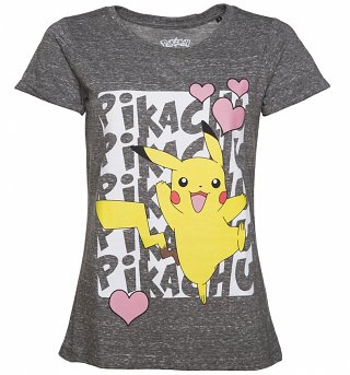 Women's Grey Marl Pokemon Pikachu T-Shirt