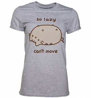 Women's Grey Marl Pusheen So Lazy Can't Move T-Shirt