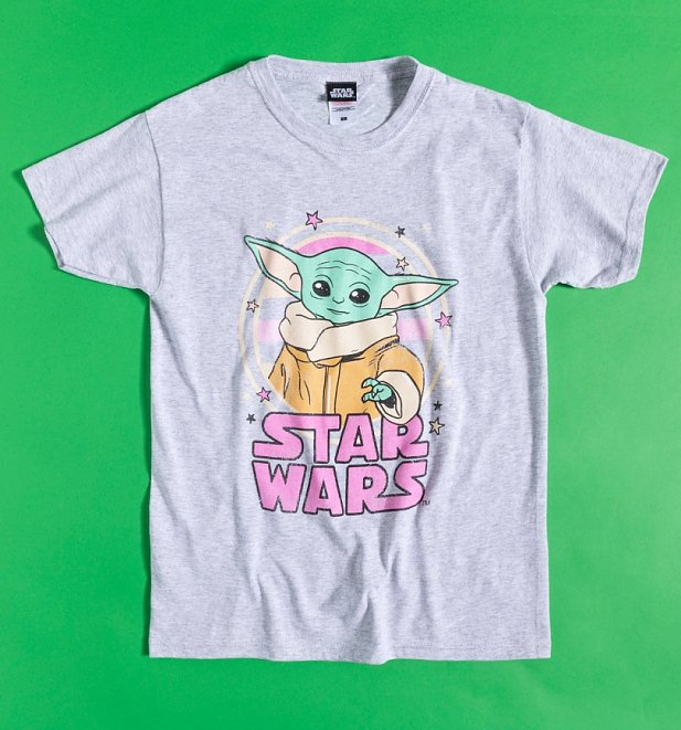 Women's Grey Marl Star Wars Mandalorian Baby Yoda Starry Child T-Shirt