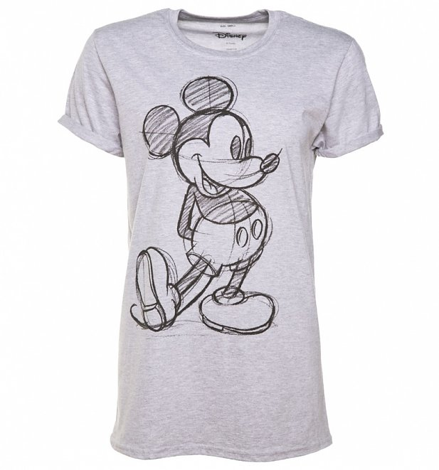 f43ebd08c4aa49 TS Womens Grey Marl Vintage Disney Mickey Mouse Sketch Rolled Sleeve T Shirt 12 99-617-662.jpg