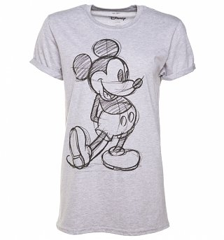 Women's Grey Marl Vintage Disney Mickey Mouse Sketch Rolled Sleeve T-Shirt
