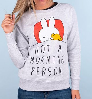 Women's Grey Miffy Not a Morning Person Sweater