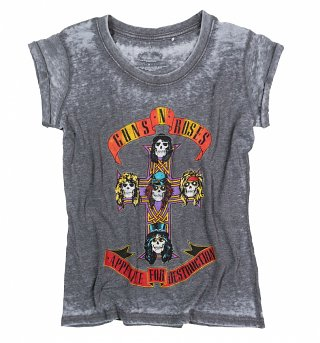 Women's Guns N Roses Appetite For Destruction Burn Out T-Shirt