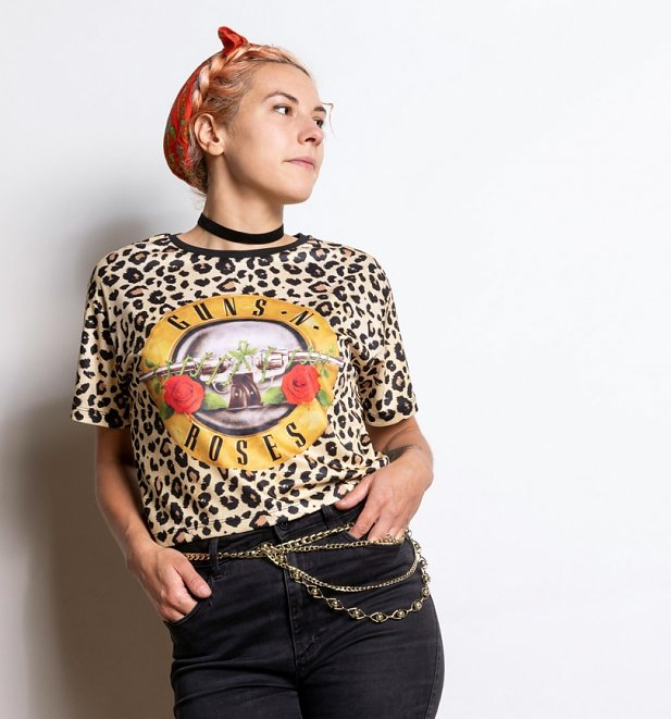Women's Guns N Roses Leopard Print Cropped T-Shirt from Amplified