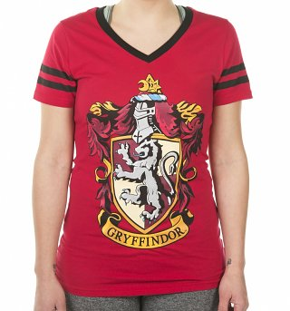 Women's Harry Potter Gryffindor V-Neck Varsity T-Shirt