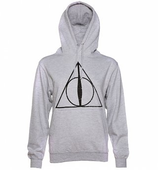 Women's Heather Grey Harry Potter Deathly Hallows Symbol Hoodie