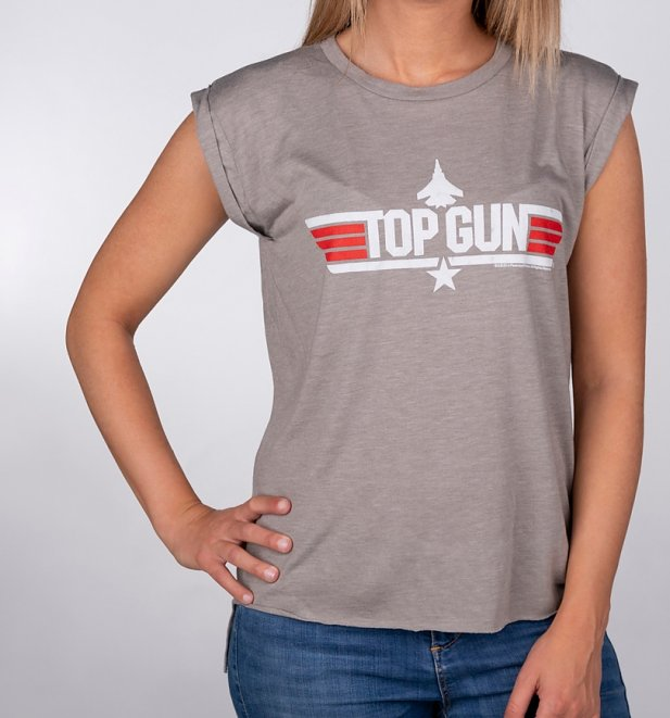 Women's Heather Khaki Top Gun Maverick Flowy T-Shirt With Rolled Cuffs