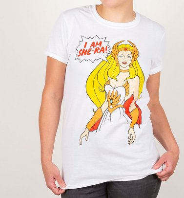 Women's I Am She-Ra White Boyfriend Fit Rolled Sleeve T-Shirt