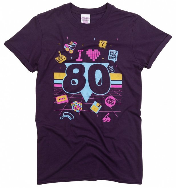 Women's I Heart 80s Blackberry Boyfriend Rolled Sleeve T-Shirt