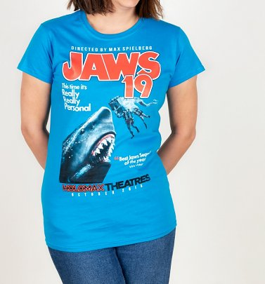 Women's Jaws 19 Movie Poster Sapphire T-Shirt
