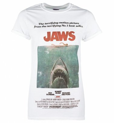 Women's White Jaws Movie Poster Boyfriend T-Shirt
