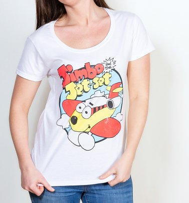 Women's Jimbo And The Jet Set Classic White Scoop Neck T-Shirt