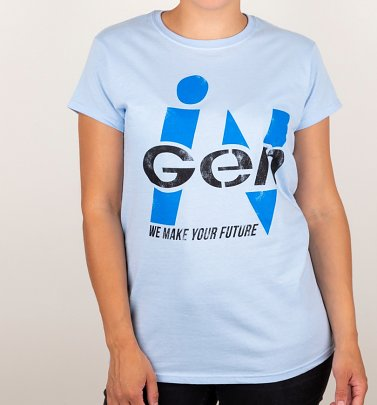Women's Light Blue Jurassic Park Inspired InGen Logo T-Shirt