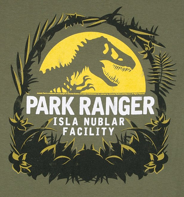 Women's Jurassic Park Isla Nublar Facility Military Green Boyfriend Fit T-Shirt With Rolled Sleeves