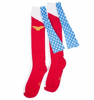 Women's Knee High Wonder Woman Socks With Cape