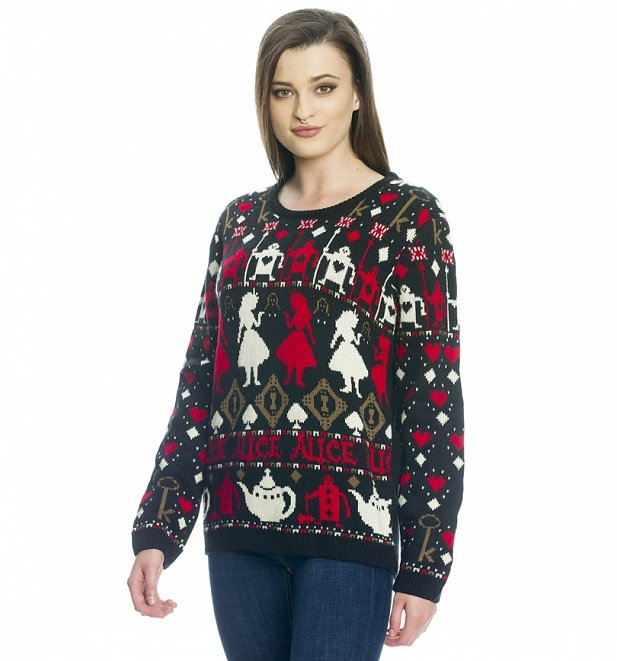 Women's Knitted Disney Alice In Wonderland Jumper