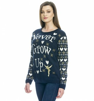 Women's Knitted Disney Tinker Bell Never Grow Up Jumper