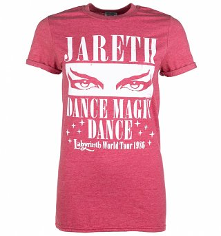Women's Labyrinth Dance Magic Dance World Tour Heather Red Boyfriend Fit Rolled Sleeves T-Shirt