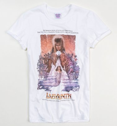 Women's Labyrinth Illustrated Movie Poster White Boyfriend Fit Rolled Sleeve T-Shirt