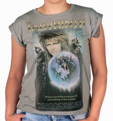 Women's Labyrinth Movie Poster Flowy T-Shirt With Rolled Cuffs