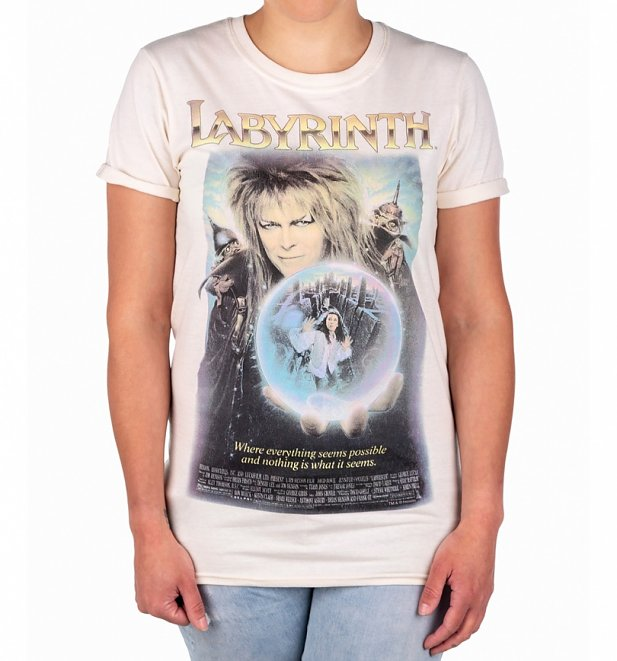 Women's Labyrinth Movie Poster Rolled Sleeve Boyfriend T-Shirt