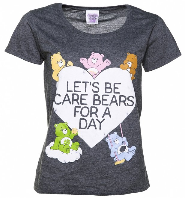 Women's Let's Be Care Bears For a Day Dark Heather Scoop Neck T-Shirt