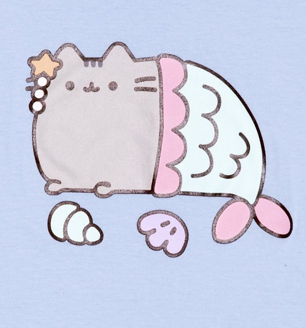 Women's Light Blue Pusheen Mercat T-Shirt