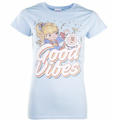 Women's Light Blue Rainbow Brite Good Vibes T-Shirt