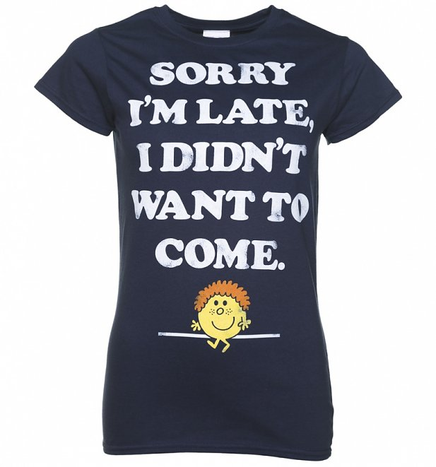 Women's Little Miss Late Sorry I'm Late Navy T-Shirt
