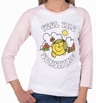 Women's Little Miss Sunshine Feel The Sunshine White And Pink Raglan Baseball T-Shirt