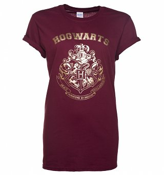 Women's Maroon Harry Potter Gold Hogwarts Crest Rolled Sleeve Boyfriend T-Shirt