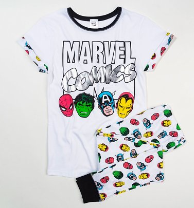 Women's White Marvel Comics Pyjamas