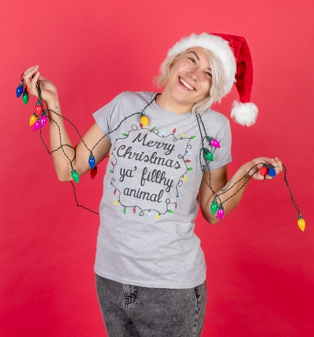 Merry Christmas Ya Filthy Animal Fitted T-Shirt