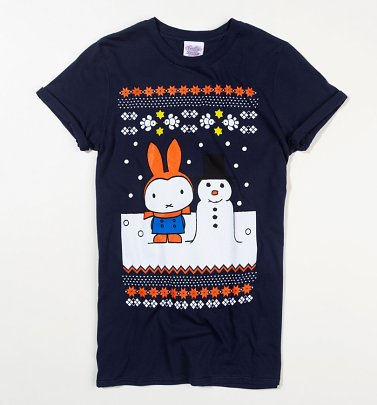 Women's Miffy Snowman Fairisle Navy Boyfriend Fit Rolled Sleeve T-Shirt