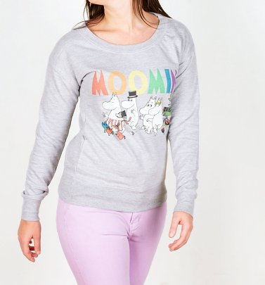 Women's Moomins Rainbow Logo Heather Grey Sweater