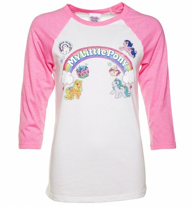 Women's My Little Pony Logo with Badges Raglan Baseball T-Shirt