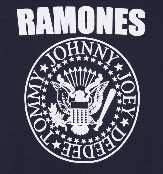 Women's Navy And Red Ramones Logo Baseball T-Shirt