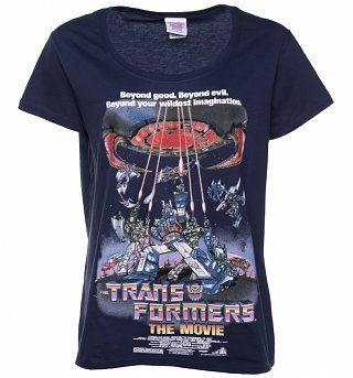 Women's Navy Transformers Retro Movie Poster Scoop Neck T-Shirt
