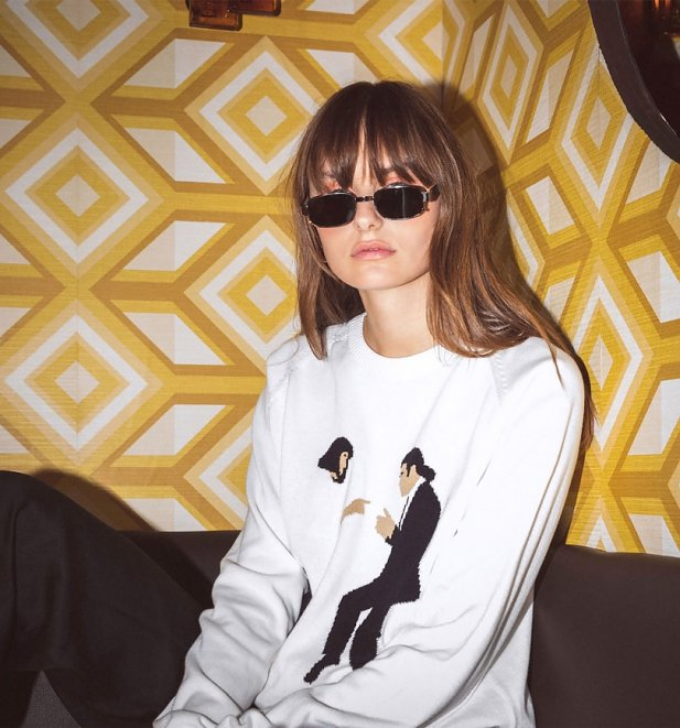 Women's Off White Knitted Pulp Fiction Dance Knitted Jumper from Dedicated