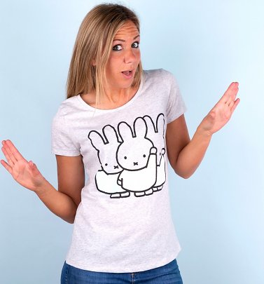 Women's Pastel Miffy Gang Heather Ash Scoop Neck T-Shirt