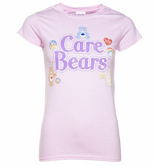 Women's Pink Care Bears Logo with Badges T-Shirt