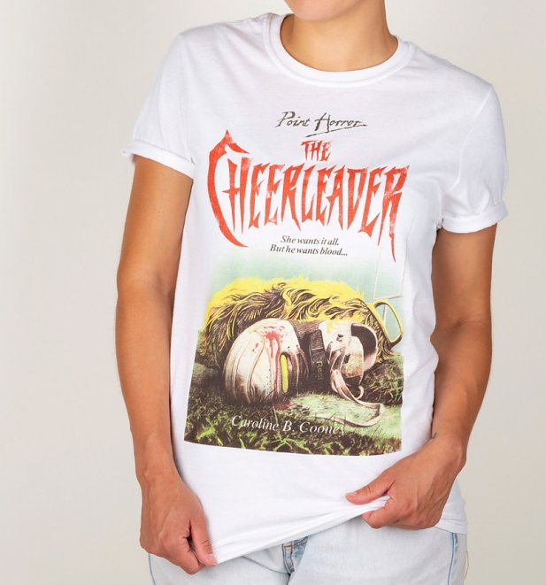 Point Horror Inspired The Cheerleader White Boyfriend Fit Rolled Sleeves T-Shirt