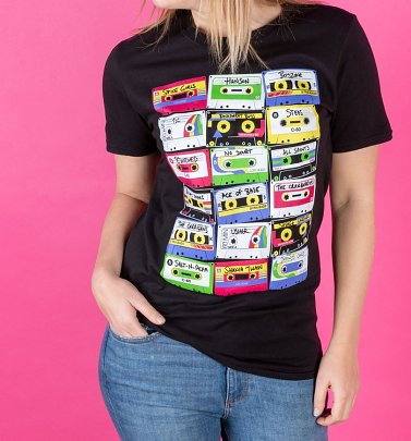 Women's Pop Music Cassette Tapes Black Fitted T-Shirt
