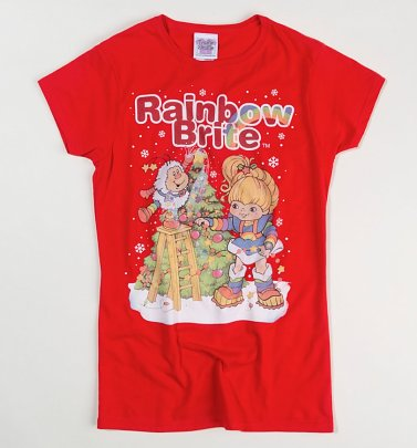 Women's Rainbow Brite Christmas Tree Red T-Shirt