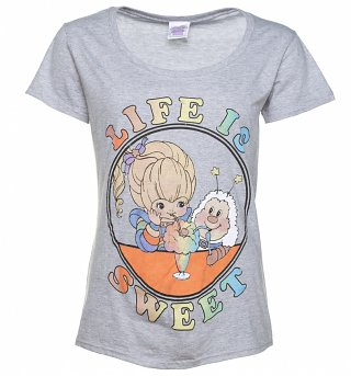 Women's Rainbow Brite Life Is Sweet Grey Scoop Neck T-Shirt