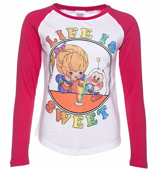Women's Rainbow Brite Life Is Sweet White And Hot Pink Raglan Baseball Tee
